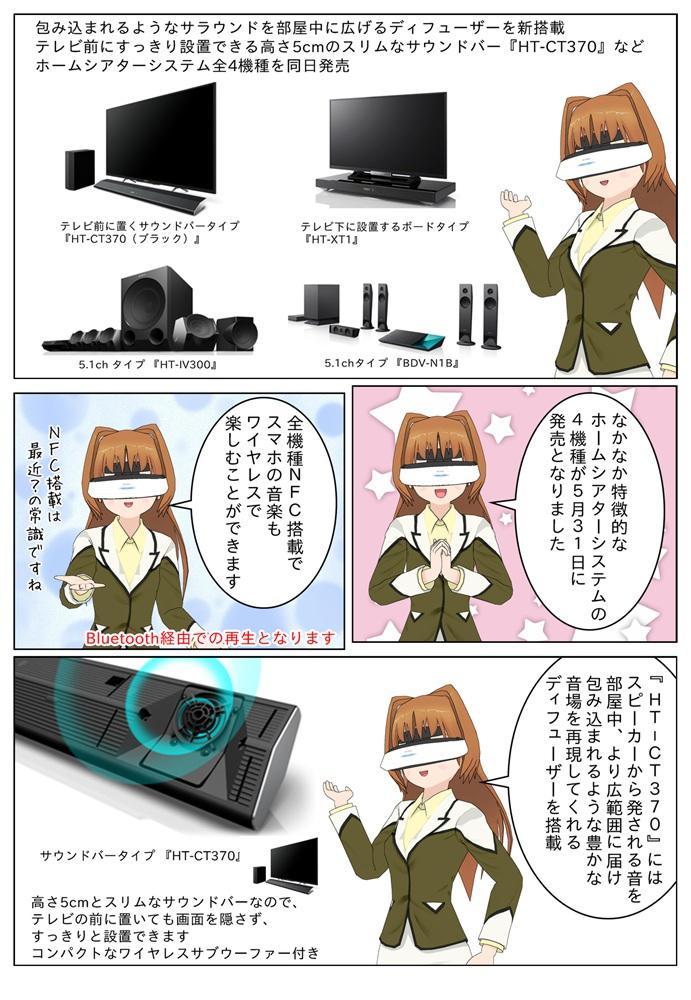 ソニーはディフューザーを新搭載したサウンドバー『HT-CT370』などホームシアターシステム全4機種を発売