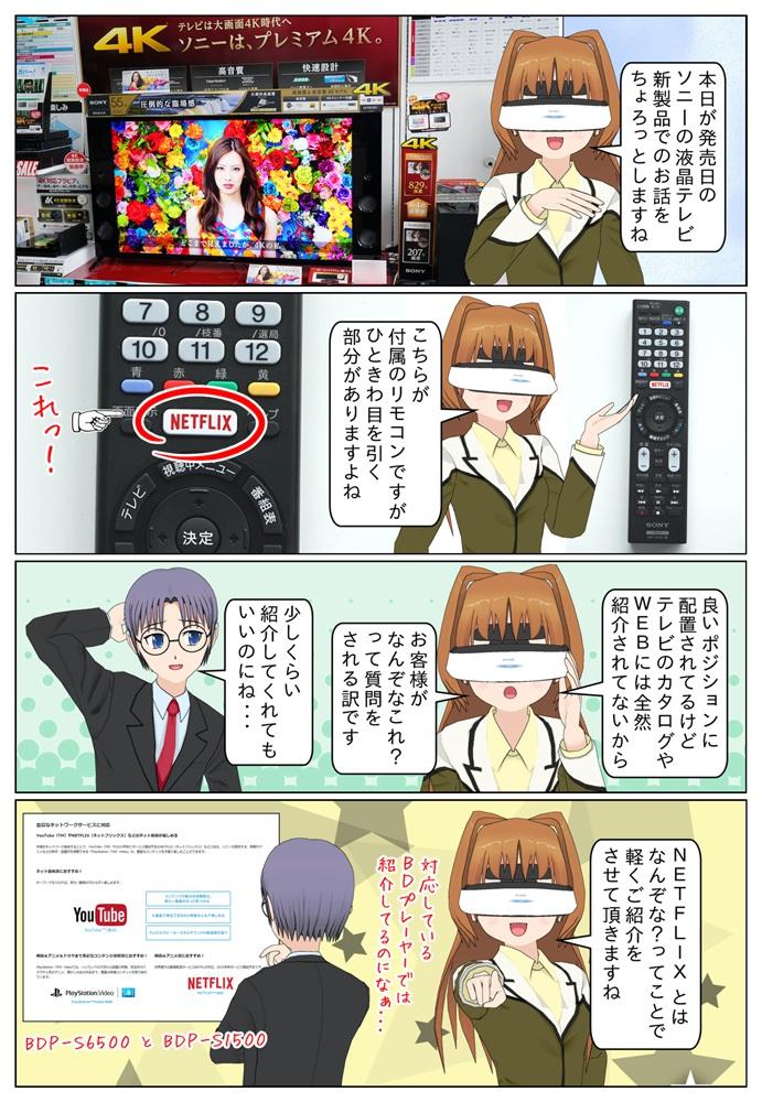 ソニーの液晶テレビ BRAVIA(ブラビア)の 新製品に付属しているリモコンに『NETFLIX』ってボタンがあるので軽くご説明をします。