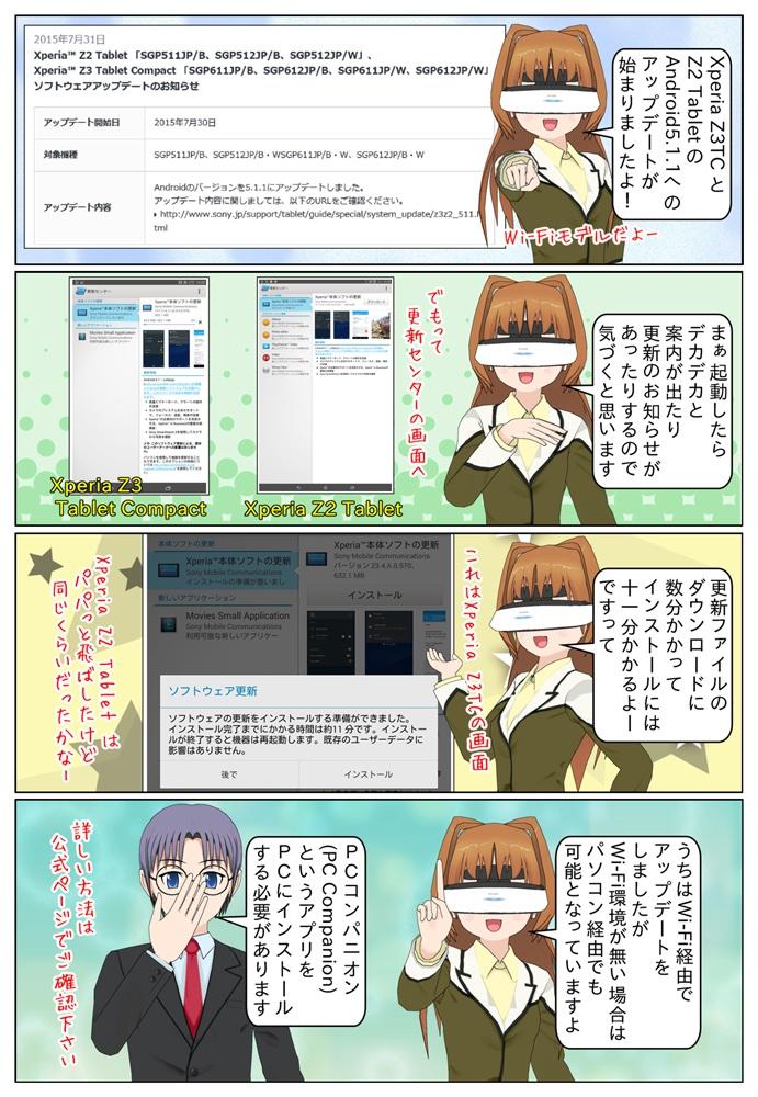 Xperia Z3 Tablet Compact SGP611JP、SGP612JPと Xperia Z2 Tablet SGP511JP、SGP512JP のAndroid 5.1.1へのアップデートが開始されました