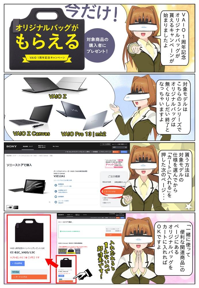 VAIO 1周年記念 オリジナルバッグがもらえるキャンペーンが開始。対象モデルはVAIO Z と VAIO Z Canvas と VAIO Pro 13 | mk2 おなっております。オリジナルバッグのプレゼントは無くなり次第終了となります。