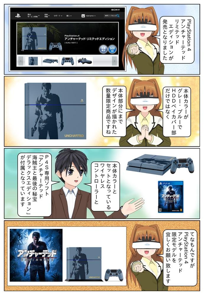 数量限定のPlayStation 4 アンチャーテッド リミテッドエディションが発売。グレー・ブルーカラーの本体に主人公「ネイサン・ドレイク(ネイト)をデザインした限定モデルです。