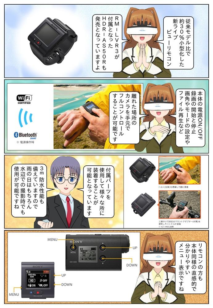 新ライブビューリモコン RM-LVR3が付属となったHDR-AS50Rも発売。ライブビューリモコンを利用すれば離れた場所のHDR-AS50を手元でフルコントロールすることも可能です。