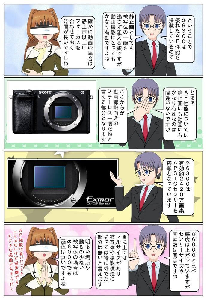 ソニーのデジタル一眼カメラ α6300はα6000と比較して感度は上がっていますがセンサーサイズや画素数は同等となっています。状況や被写体次第ではα6000とα6300の違いはあまり無いですね。