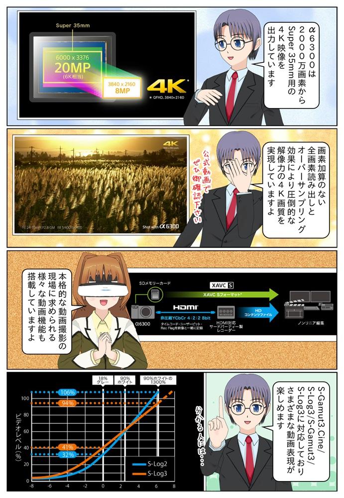 α6300は約2000万画素からSuper 35mm用の4K映像を出力しており、この点に関してはα7R2以上の性能となっています。ILCE-6300は様々な動画機能も搭載しています。