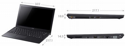 VAIO Pro 13   mk2 タッチパネル搭載モデル サイズ