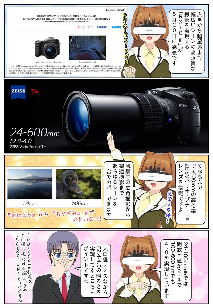 新開発の24-600mm(光学25倍) F2.4-4の大口径・高倍率ズームレンズ搭載し、1台で広角から超望遠まで幅広いシーンの高画質な撮影を実現するRXシリーズ『RX10 III(DSC-RX10M3)』発売。