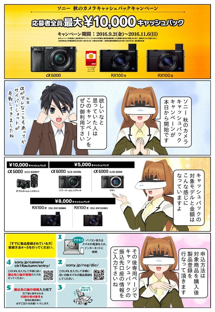 ソニー 秋のカメラキャッシュバックキャンペーンにより最大1万円のキャッシュバック!対象モデルはα6000シリーズ、DSC-RX100M3、DSC-RX100M4となっております。