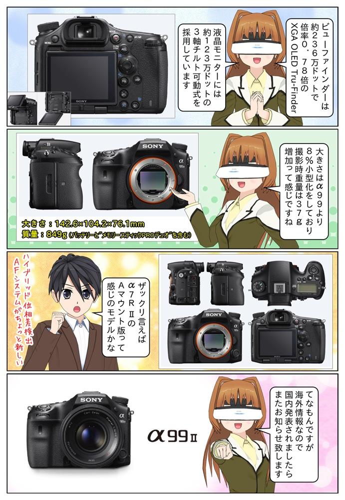 ソニー α99 ILCA-99M2は4K動画撮影やクイックモーション、スローモーション撮影にも対応、大きさはα99と比較して8%の小型化となっています。