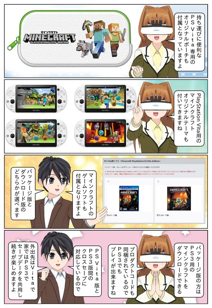 PS Vita マインクラフト限定モデルにはPS Vita専用のマインクラフトオリジナルポーチやオリジナルテーマ、マインクラフトのPS Vita用ゲームソフトが付属となっています。