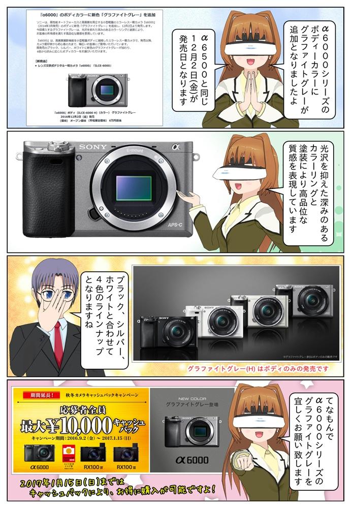 ソニーがデジタル一眼カメラ 『α6000』のボディカラーに新色「グラファイトグレー」を追加。発売日は『α6500』と同じ2016年12月2日(金)となっています。