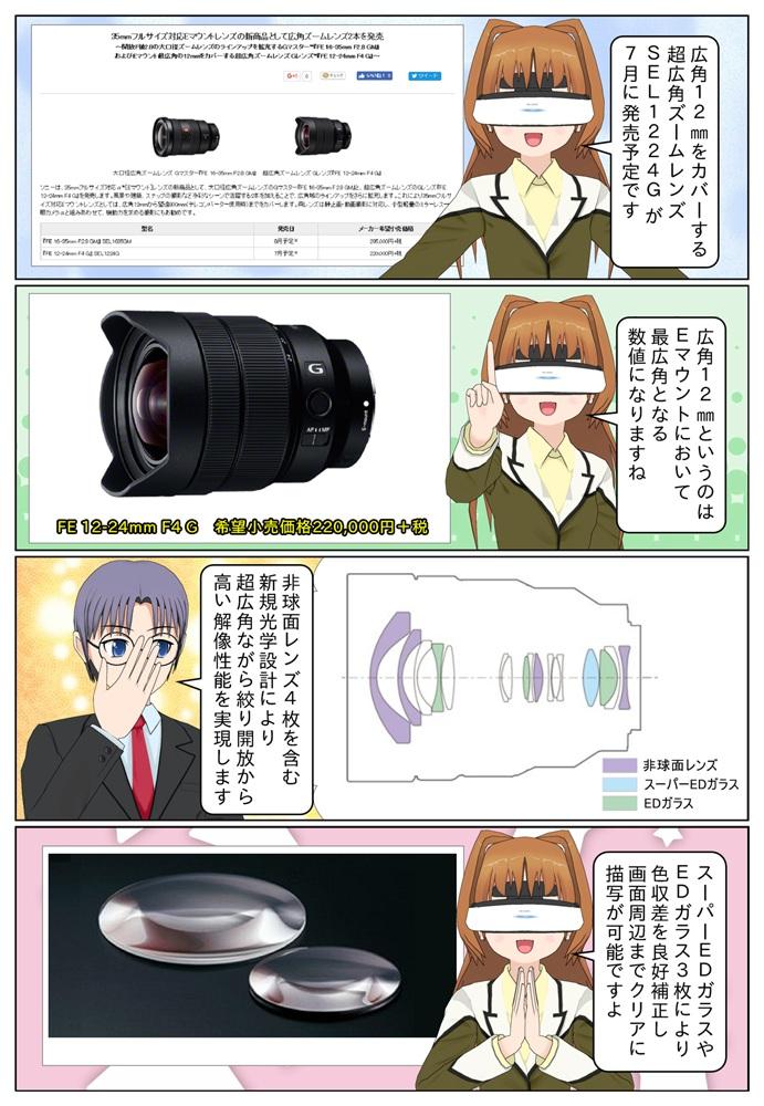 ソニー Eマウント最広角の12mmをカバーする超広角ズームレンズ『FE 12-24mm F4 G』SEL1224Gが2017年8月発売予定です。