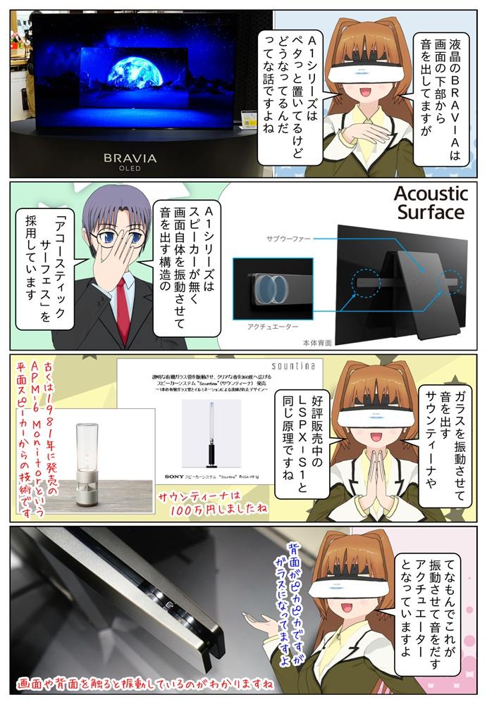 A1シリーズは音響機能としてガラスをアクチュエーターで振動をさせて音を出す「アコースティク サーフェス」を搭載しています。
