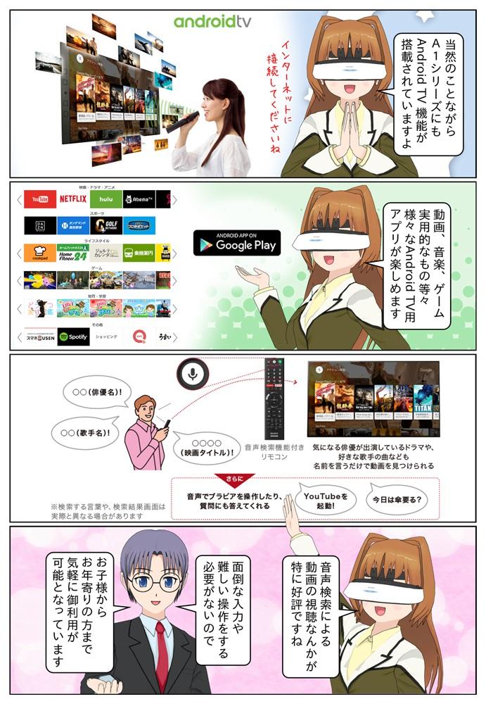 ソニーの4K有機ELテレビ A1シリーズにもAndroid TV機能が搭載となっています。動画、音楽、ゲームなどのアプリも楽しめます。