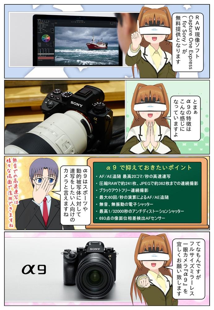 ソニー ILCE-9 は高速連写、連続撮影枚数、ブラックアウトフリー、無音、無振動の電子シャッターなどを搭載でスポーツや動的被写体の連写向けのカメラです。