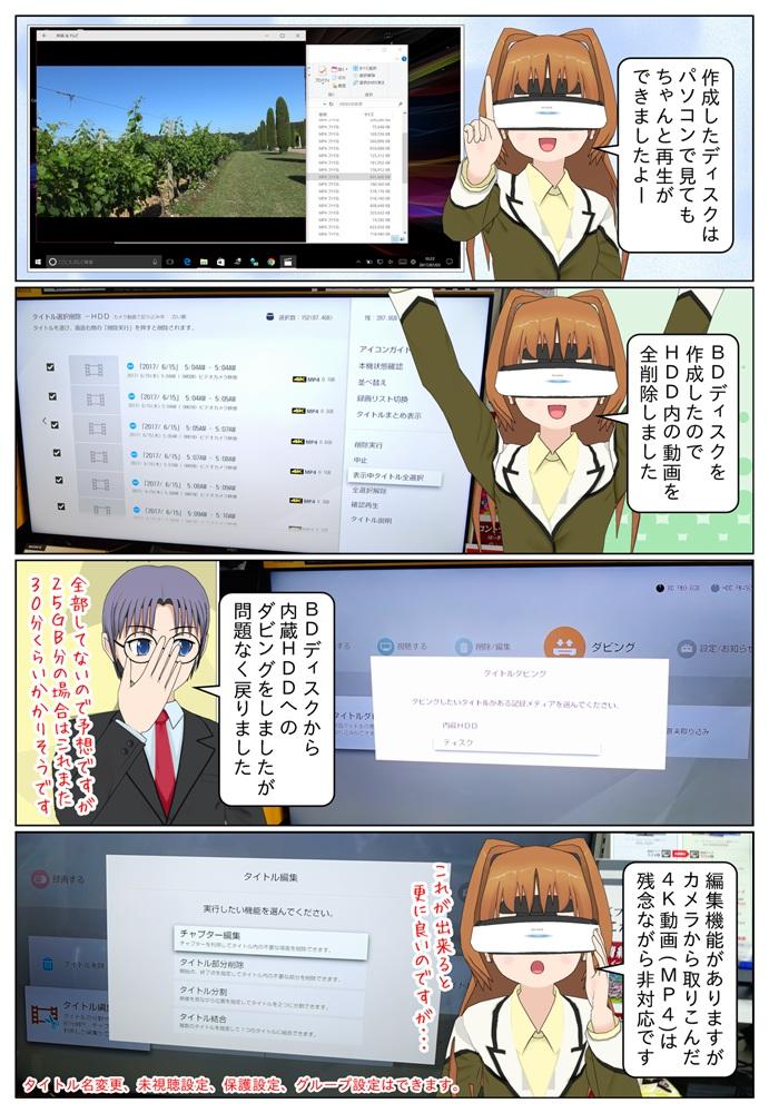 BDレコーダーで4K動画を保存したブルーレィディスクはパソコンでも再生が出来ました。BDレコーダーに編集機能がありますが4K動画(MP4)は非対応です。