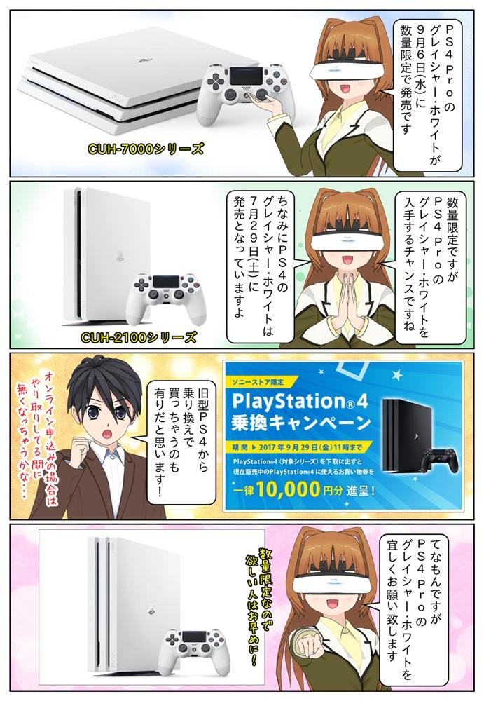 PS4 ProことPlayStation 4 Pro にカラバリとしてグレイシャー・ホワイトモデルが2017年9月6日(水)に数量限定で発売となっています。