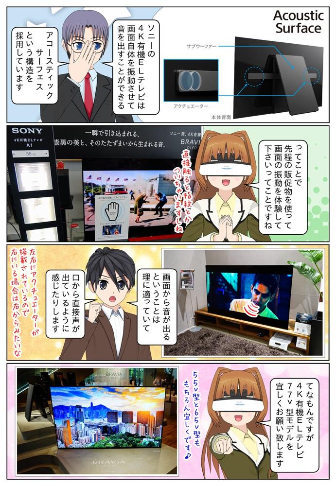 ソニーの4K有機ELテレビは画面を振動させて音を出す「アコースティックサーフェス」という構造を採用しています。