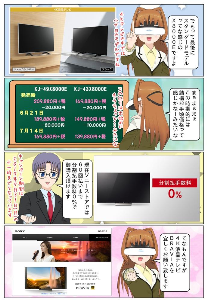 KJ-49X9000EとKJ-49X8000Eが発売時より4万円の値下げで、KJ-43X8000Eが発売時より3万円の値下げとなりました。