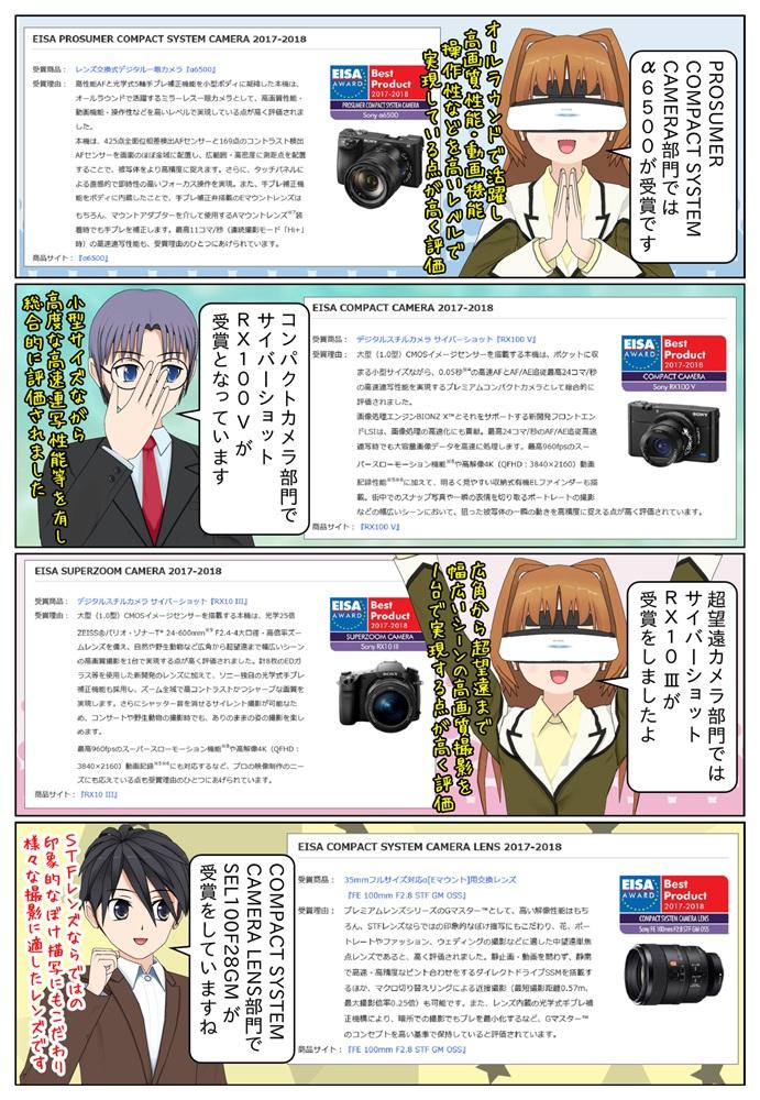 その他カメラ系の各部門でレンズ交換式デジタル一眼カメラ『α6500』、サイバーショット『RX100 V(DSC-RX100M5)』と『RX10 III(DSC-RX10M3)』が受賞をしています。