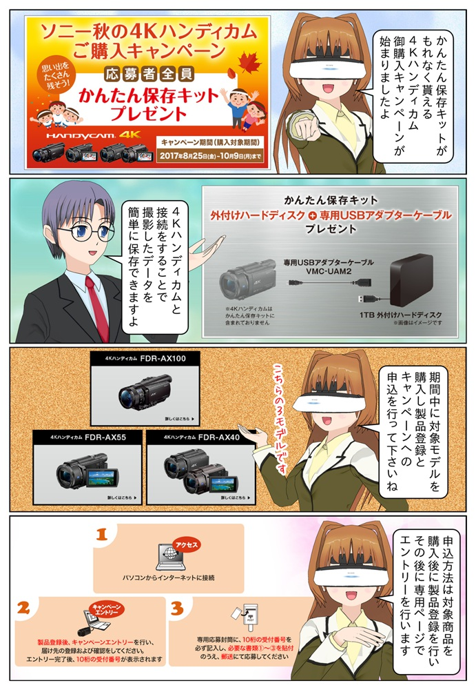 ソニー 4Kハンディカム FDR-AX100、FDR-AX55とFDR-AX40を御購入のお客様で御応募の方に『かんたん保存キット』がもれなく貰えるキャンペーンが始まります。