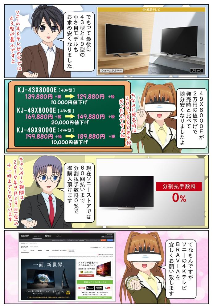 KJ-49X9000EとKJ-43X8000E1万円の値下げで、KJ-49X8000Eが2万円の値下げです。KJ-49X8000Eは発売時と比べえ6万円安いですね。