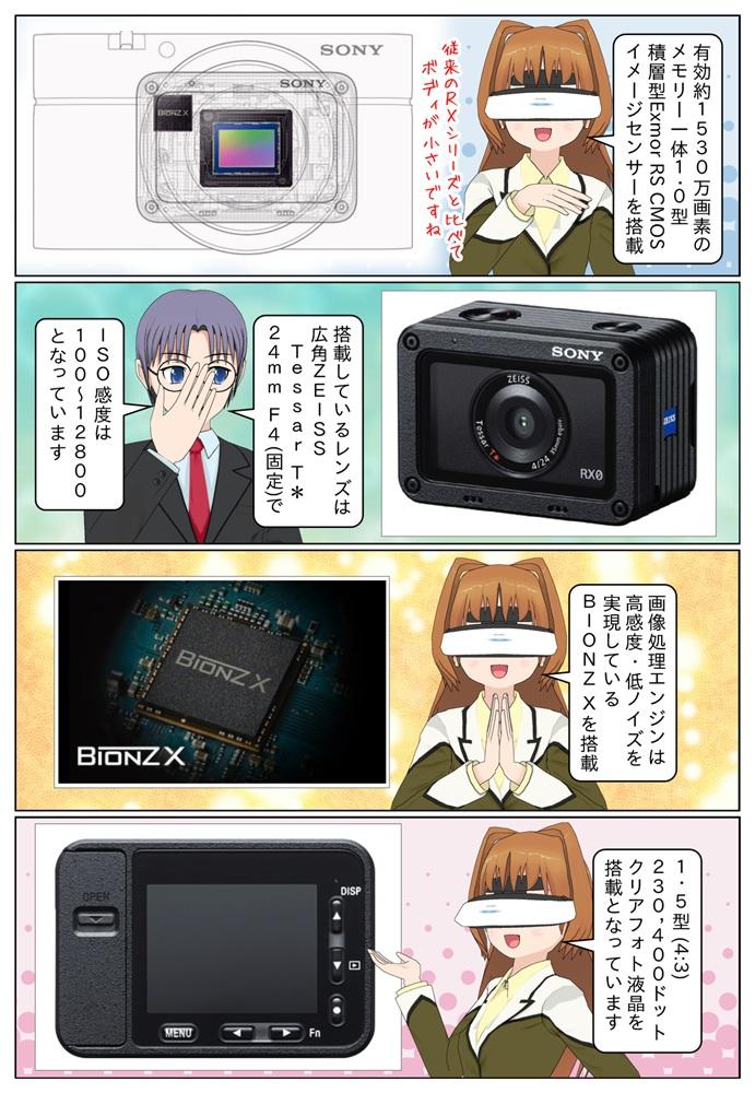 DSC-RX0は有効約15304万画素のメモリー一体1.0型積層型Exmor RS COMSイメージセンサーを搭載。広角ZEISS Tessar T* 24mm F4.0(固定)のレンズを搭載しています。