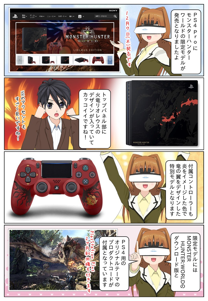 PlayStation 4 Pro にモンスターハンター:ワールドの限定モデルが発売になりました。トップパネル部に火竜リオレウスのデザインが入っています。