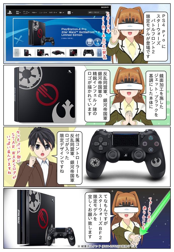 PlayStation 4 Pro にスターウォーズ バトルフロント2の限定モデルが発売になりました。反乱同盟軍、銀河帝国軍などのロゴが入っています。
