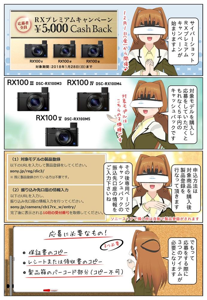 ソニー サイバーショット RX プレミアムキャンペーンが開始。DSC-RX100M5、DSC-RX100M4、DDSC-RX100M3の購入者に、もれなく5,000円のキャッシュバックとなります。