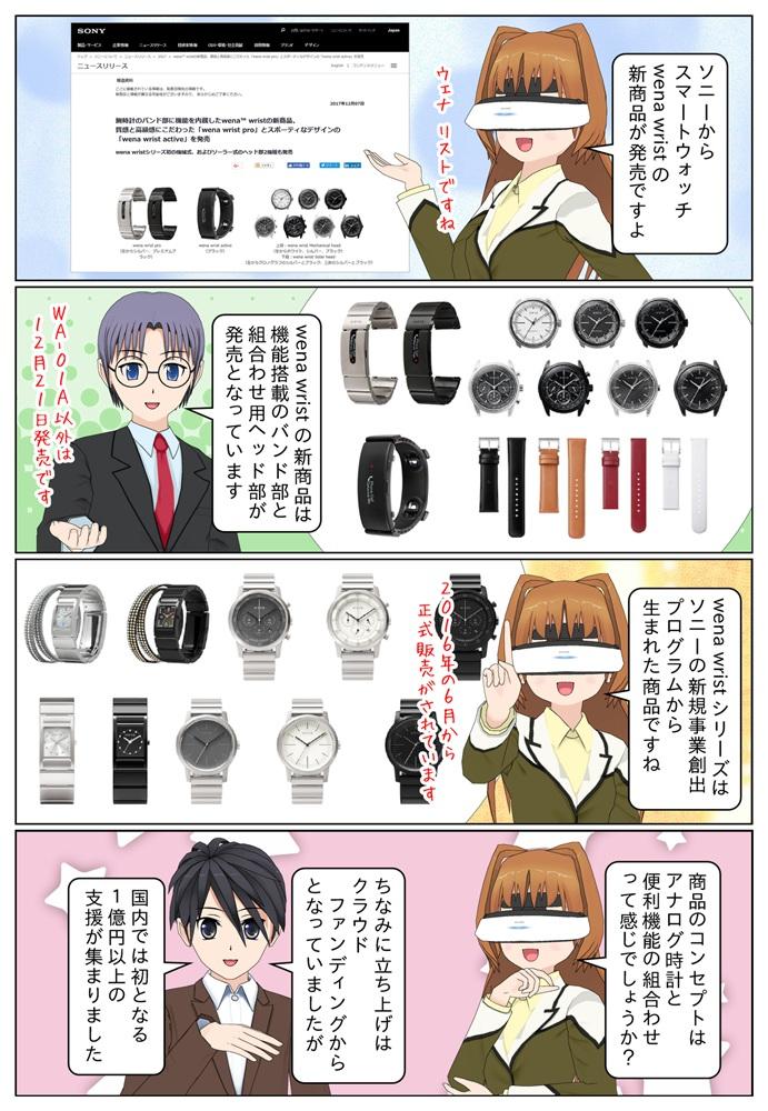 ソニーからスマートウォッチ wena wrist の新商品として、機能搭載のバンド部と組合せ用のヘッド部が2017年12月21日(木)に発売です。
