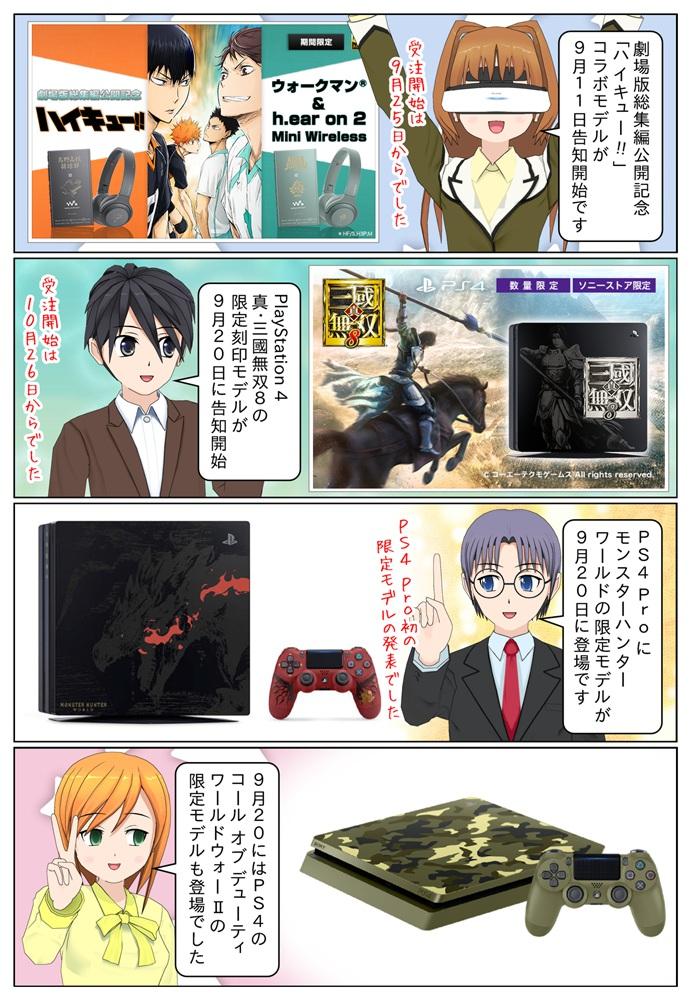 ウォークマン『ハイキュー!!』コラボモデル、PS4の『真・三國無双8』限定刻印モデル、CoD WWII 限定モデル、PS4 Pro にモンスターハンター:ワールド限定モデル。