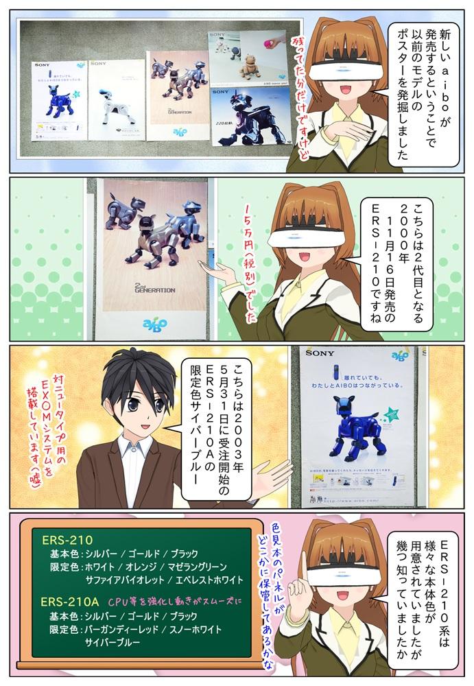 aiboの新製品が発売するということで、以前のモデルのポスターをご紹介。ERS-210とERS-210Aの限定色サイバーブルーのポスター画像。