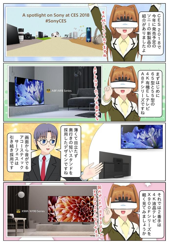 CES 2018にて今年に発売予定となるソニーの新製品などが紹介されました。4K有機ELテレビはA8Fシリーズが登場、4K液晶テレビにはX900Fシリーズが登場です。