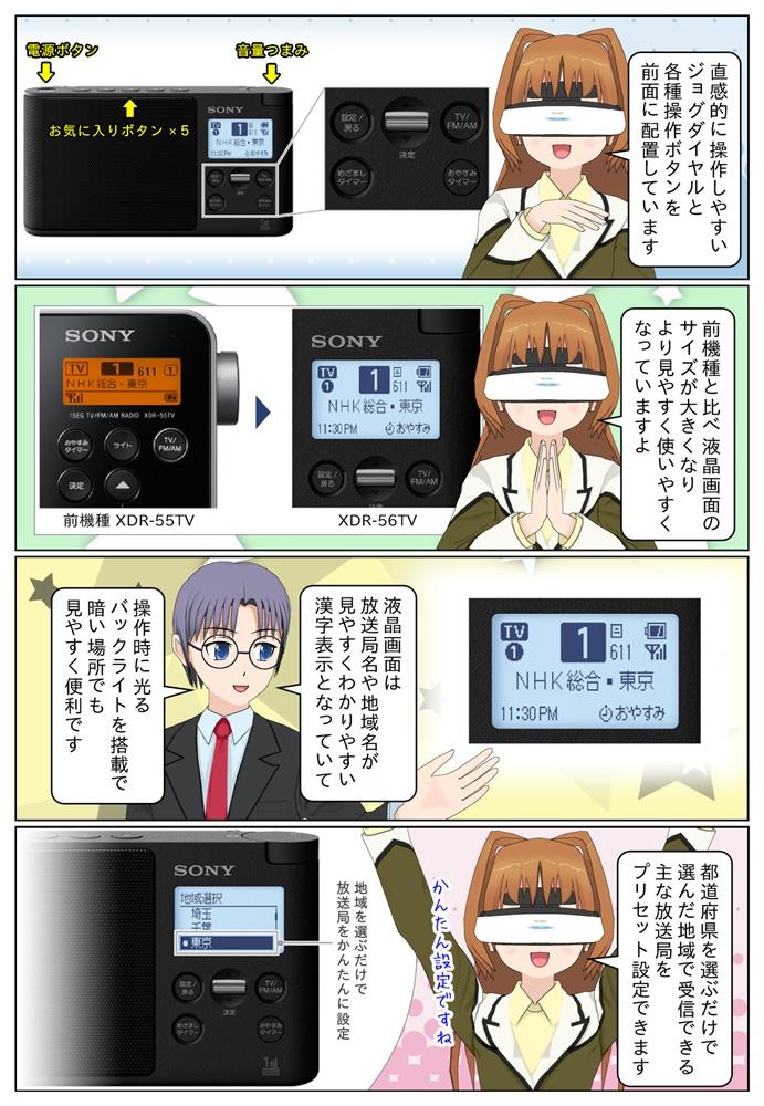 XDR-56TV は直感的に操作しやすいジョグダイヤルと各種操作ボタンを前面に配置。液晶画面も大きく、見やすくわかりやすい漢字表示にも対応。