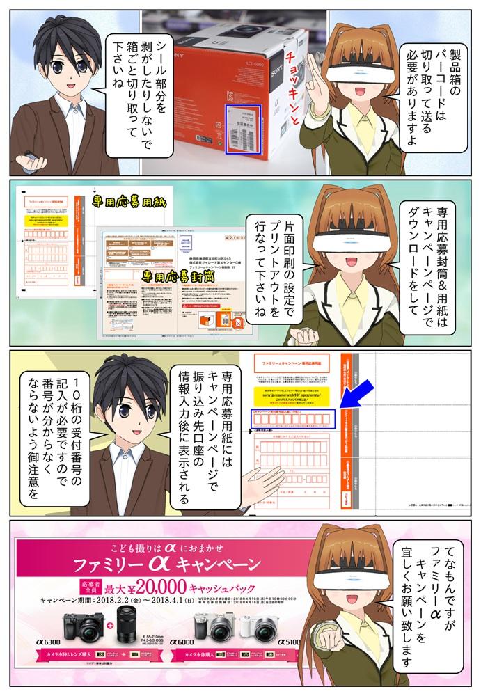最大2万円のキャッシュバックとなるファミリーαキャンペーンの応募封筒はソニー ファミリーαキャンペーン公式ページでダウンロードが可能となっています。
