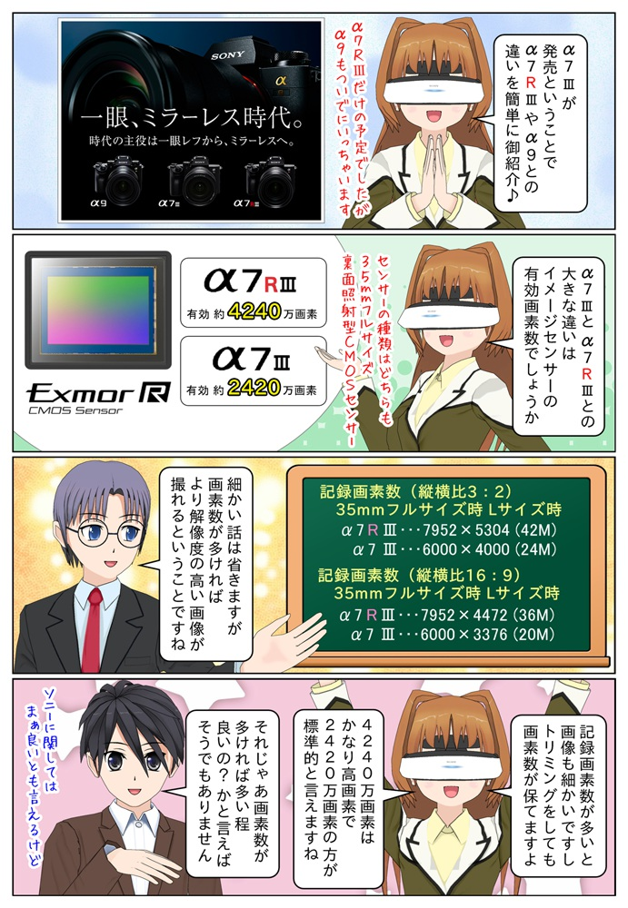 ソニーの『α7III』ILCE-7M3 と『α7R III』ILCE-7RM3 や『α9』ILCE-9との違いを簡単に御紹介。α7III と α7R III の大きな違いは有効画素数となります。