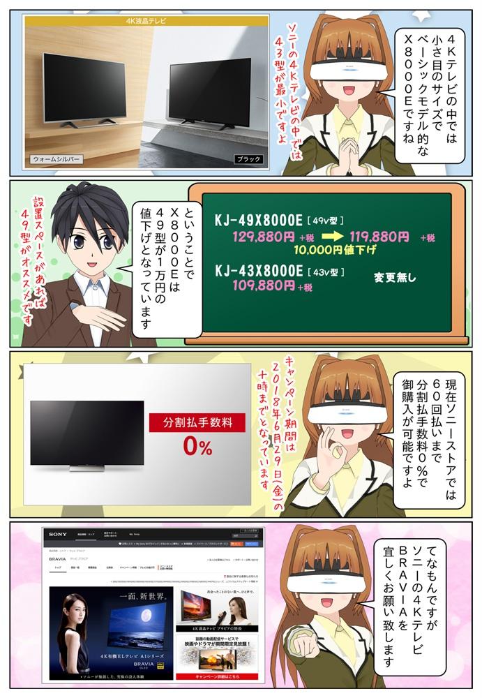 KJ-49X8000Eは1万円の値下げです。ソニーストアでは6月29日の10時まで60回払いまで金利手数料0%で購入が可能です。