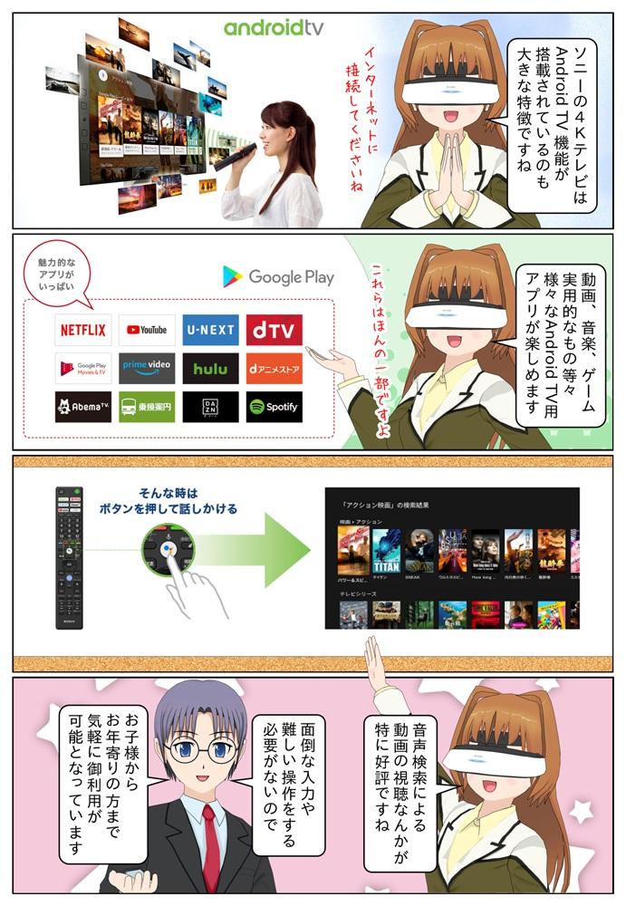 ソニーのAndroid TV搭載モデルは様々なアプリを楽しむことができます。音声検索による動画の視聴などが人気があります。
