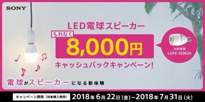 LED電球スピーカーキャッシュバックキャンペーン