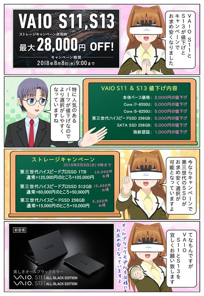 VAIO S11とVAIO S13の本体ベース価格、CPU、SSD、指紋認証のパーツが値下げとなりました。今ならキャンペーンでSSDがお求め安くなっています。