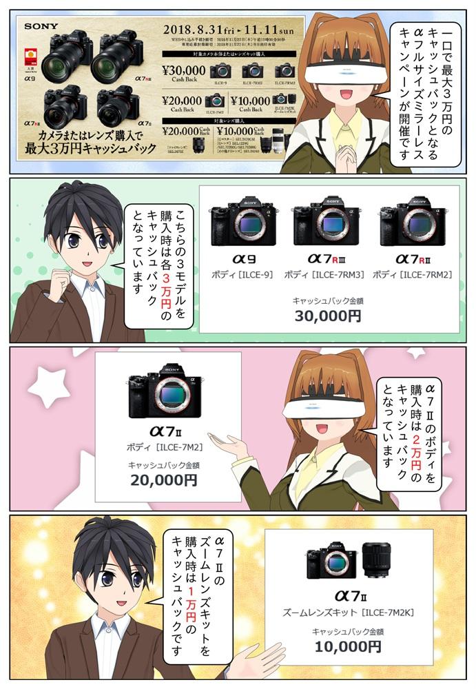 ソニー ミラーレス一眼カメラにて、対象のα本体か対象のαレンズを購入で一口最大30,000円のキャッシュバックとなるキャンペーンが2018年11月11日(日)まで開催。
