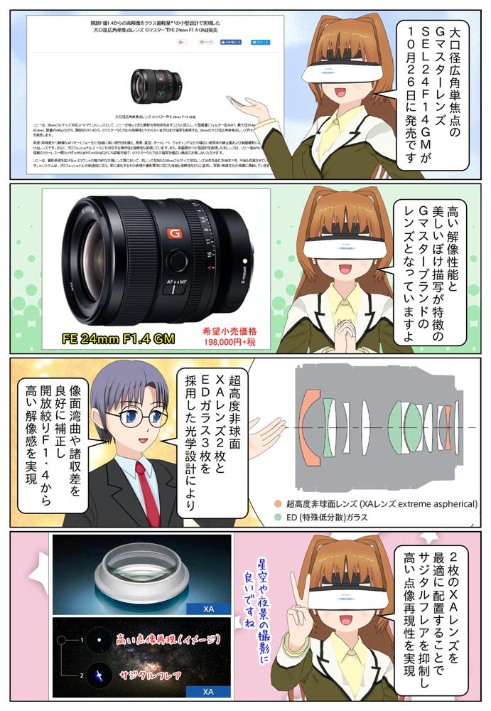 ソニーが大口径広角単焦点レンズ Gマスター『FE 24mm F1.4 GM』SEL24F14GMを2018年10月26日に発売。XAレンズ2枚とEDガラス3枚を採用した光学設計。