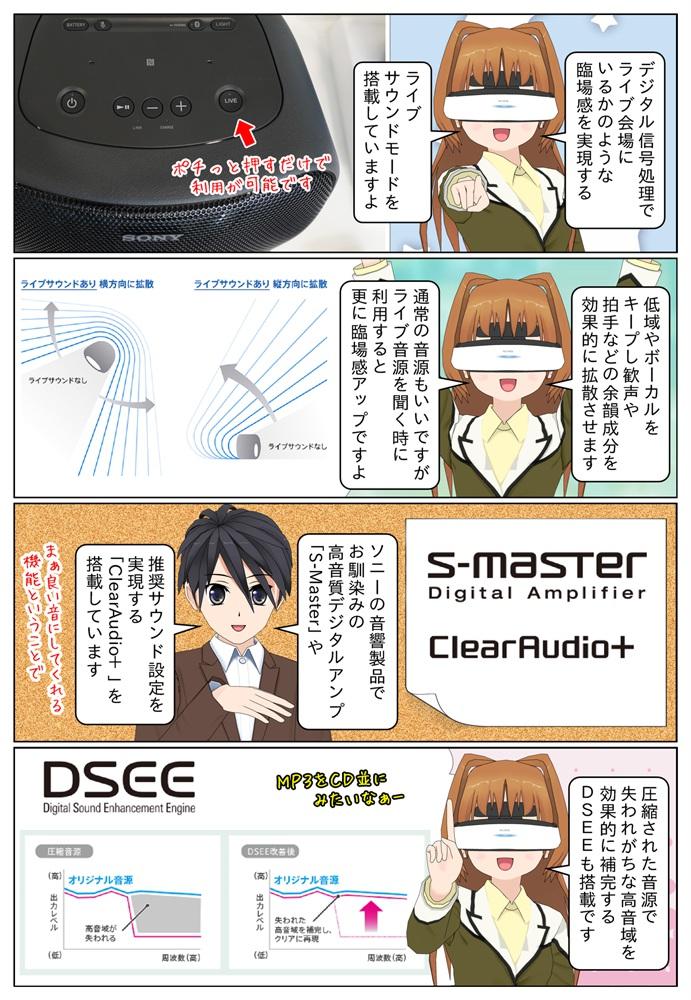 ソニーのスマートスピーカー SRS-XB501Gは「S-Master」、「ClearAudio+」、「DSEE」を搭載。ライブ会場の臨場感を再現するライブサウンドモードも搭載。