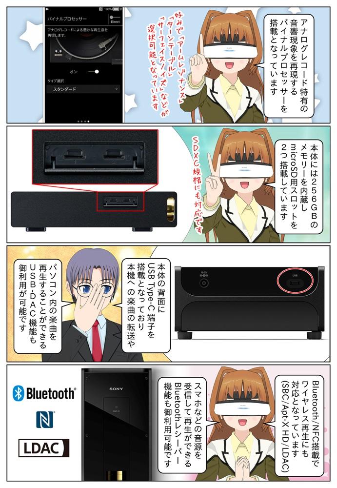 Sony DMP-Z1は256GBのメモリーを内蔵、microSD用カードスロットを2つ搭載。USB-DAC機能やBluetoothレシーバー機能にも対応となっています。
