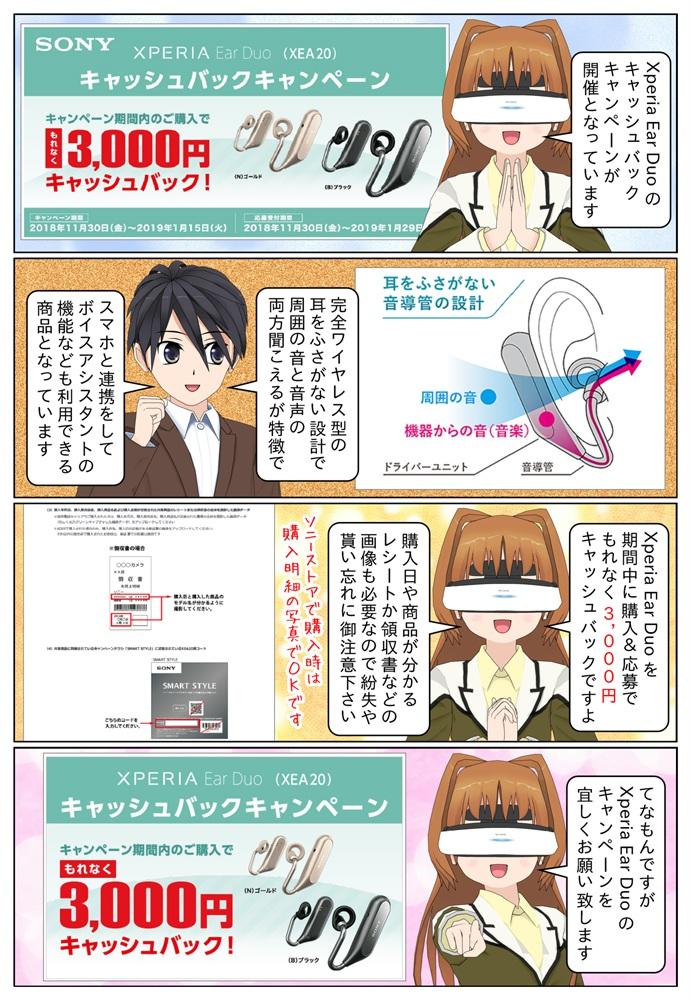 ソニーのXperia Ear Duo XEA20 を購入&御応募で、もれなく3,000円のキャッシュバックとなるキャンペーンが開催。