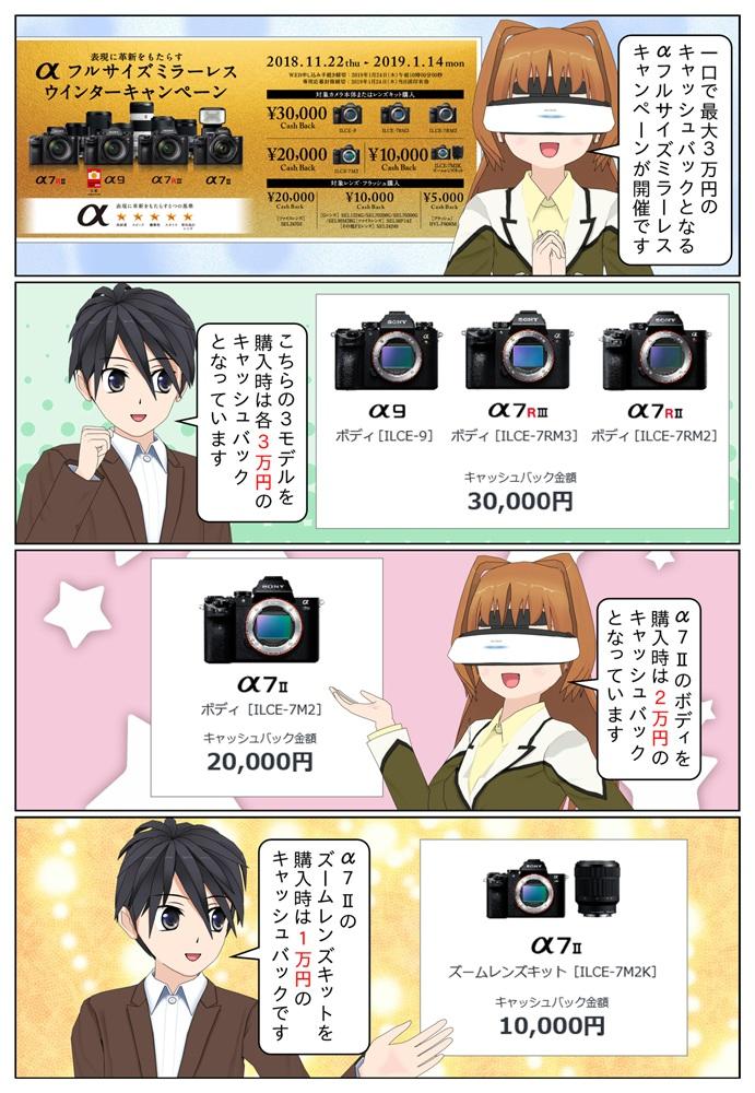 ソニー ミラーレス一眼カメラにて、対象のα本体かαレンズを購入で一口最大30,000円のキャッシュバックとなるキャンペーンが2019年1月14日まで開催です。