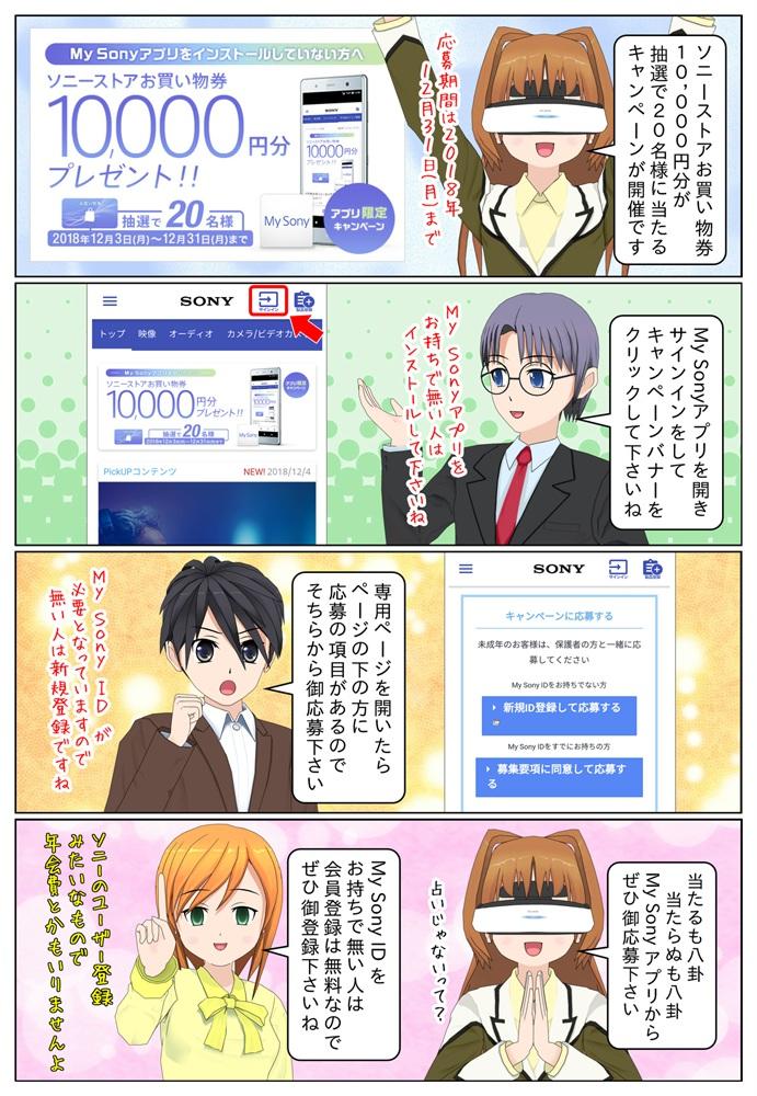 My Sonyアプリキャンペーンでソニーストアお買い物券 10,000円分が抽選で20名様にプレゼントとなっています。