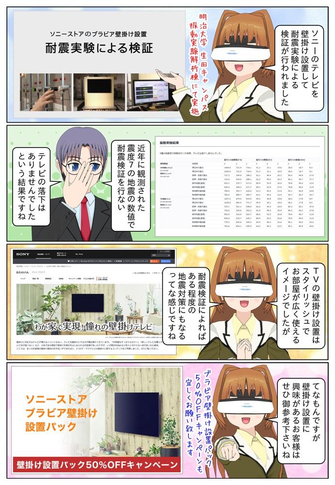 ソニーのテレビ BRAVIA を壁掛け設置をして近年日本で観測された震度7の地震の数値で耐震検証が行われました。