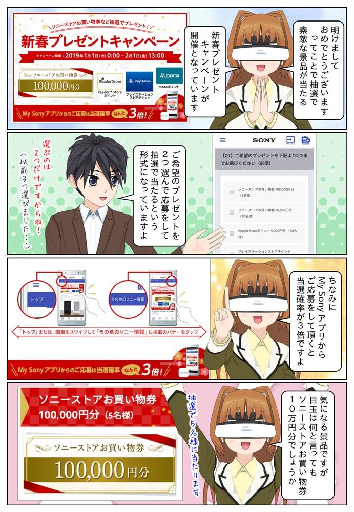 ソニーの新春プレゼントキャンペーンが開催です。ソニーストアお買い物券10万円分が抽選で5名様に当たります。