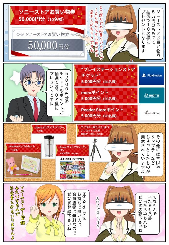 その他、ソニーストアお買い物券5万円分や5,000円分のチケットやポイントなども抽選でプレゼントとなっています。